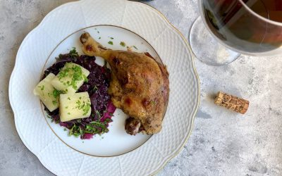 Duck Confit with Braised Red Cabbage