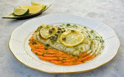 Codfish with Caulifower and Sweet Potato Mash