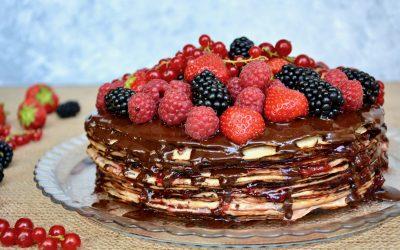 Crêpe Cake Layered with Fruits and Chocolate