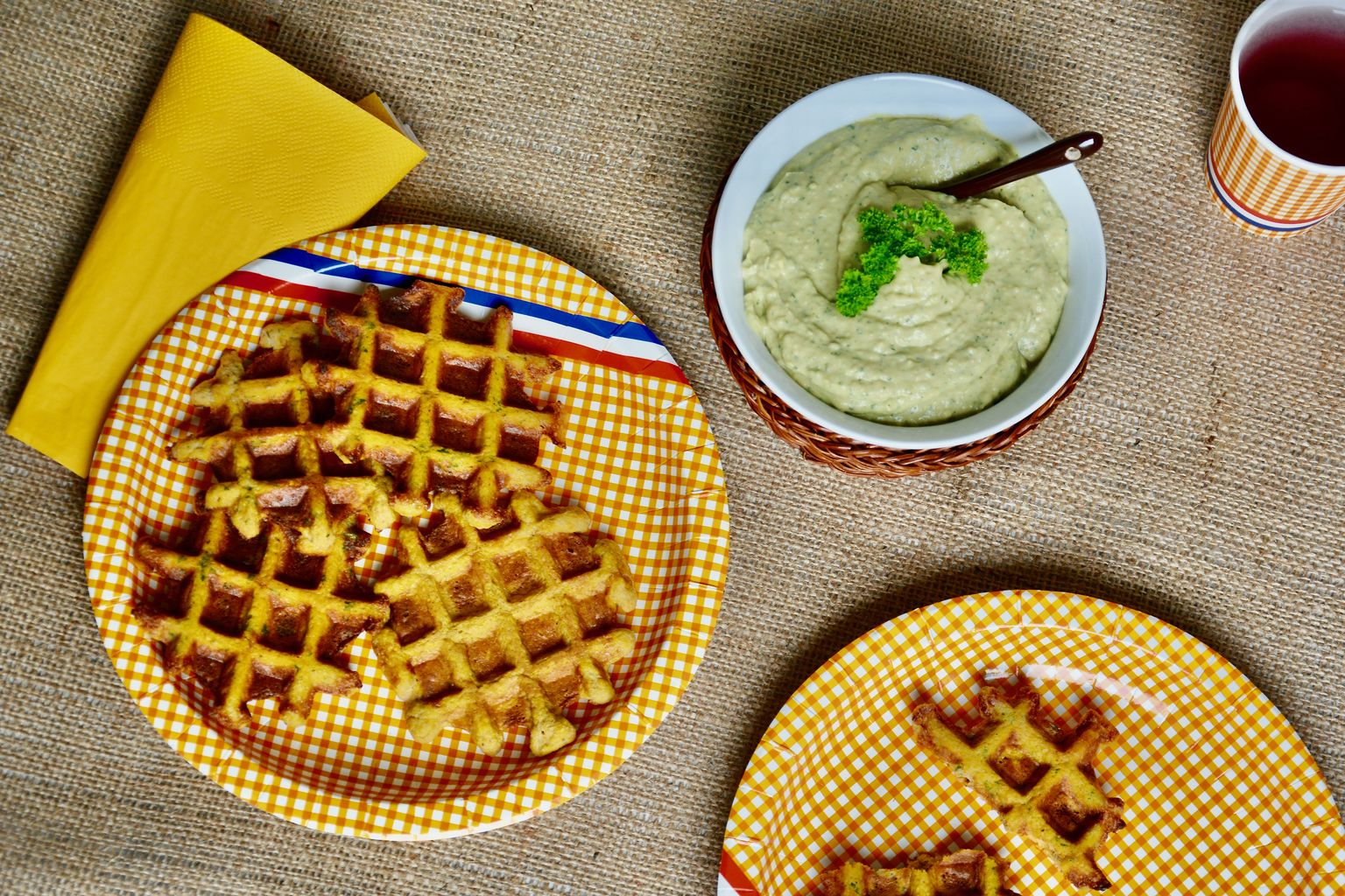 Sweet Potato Waffle with Avocado Dip