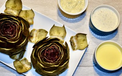 Steamed Artichoke with Dips