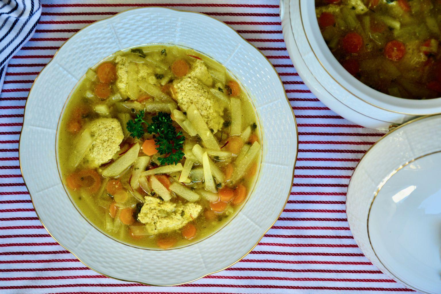 Kohlrabi Soup with Saffron and Almond Dumpling