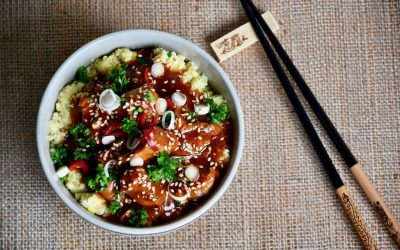 Sesame Honey Chicken with Cauliflower Rice