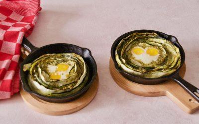 Zucchini Egg Nests with Pesto