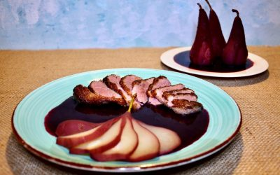 Duck Breast with Poached Pears and Blueberry Sauce