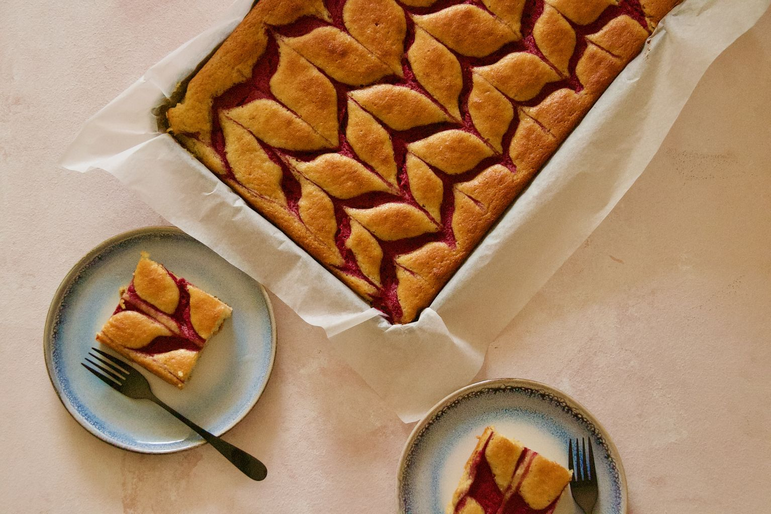 Olive Oil Sheet Cake with Raspberry Swirl