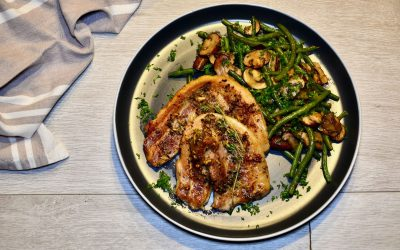 Pork Belly with Haricots Verts and Mushroom