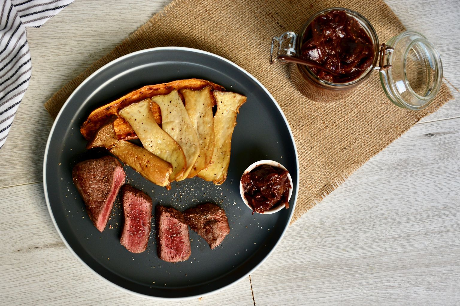 Ostrich Steak with Fig Chutney