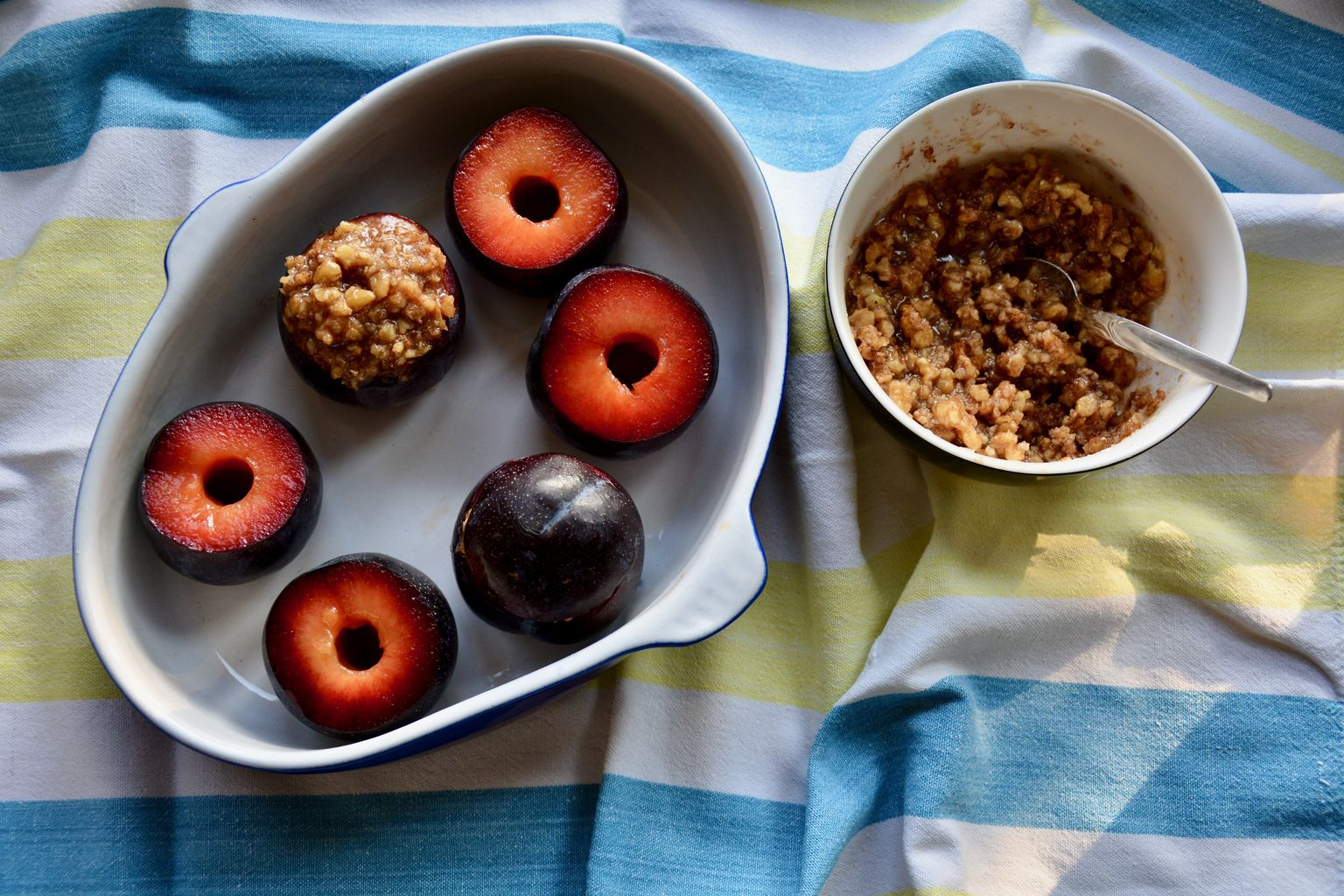 Baked Plums with Walnut and Honey