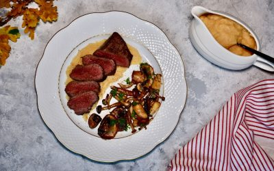 Venison with Forest Mushrooms and Quince Sauce