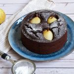 Chocolate Cake with Vanilla Poached Pears
