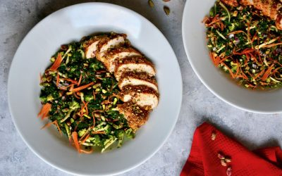 Kale Salad with Broccoli, Apple and Orange Dressing