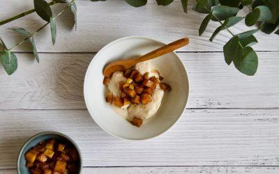 Coconut Vanilla Ice Cream with Quince Compote