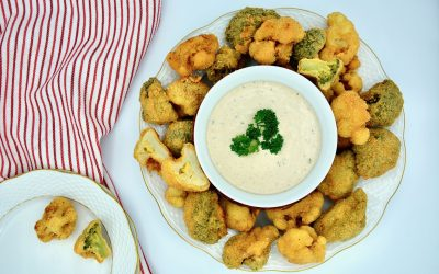 Almond Coated Broccoli and Cauliflower Florets with Tahini Sauce