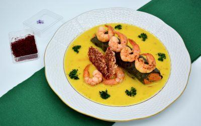 Shrimp with Sweet Potato Filled Crêpe and Saffron Sauce