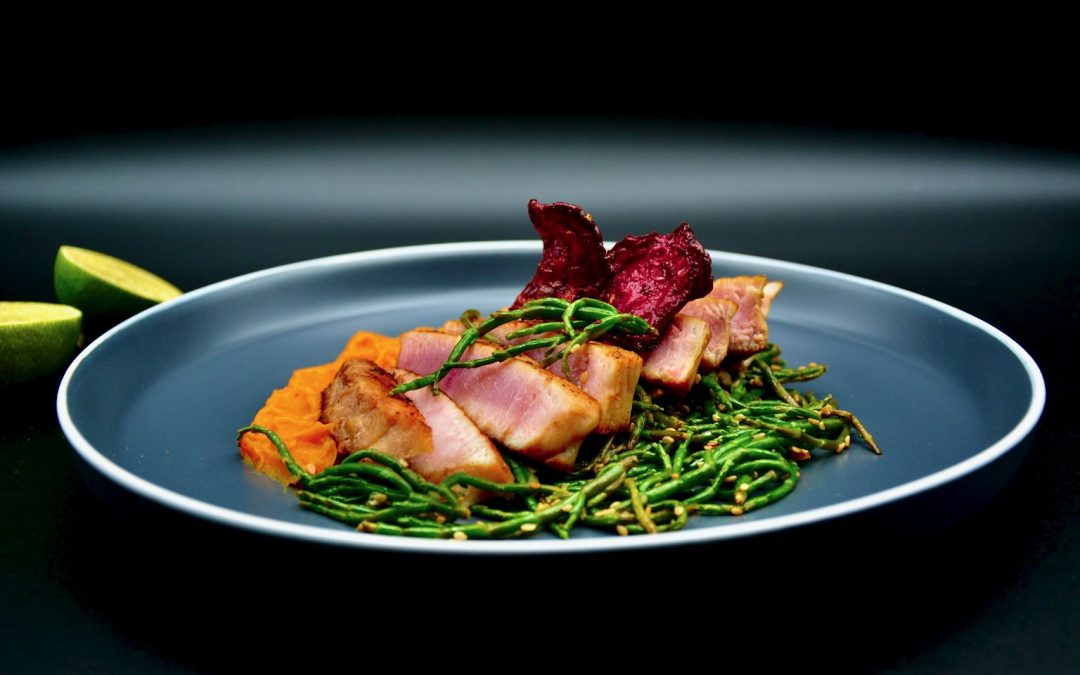 Tuna Steak with Sweet Potato and Samphire