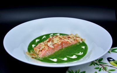 Salmon with Spinach Walnut Pesto Sauce