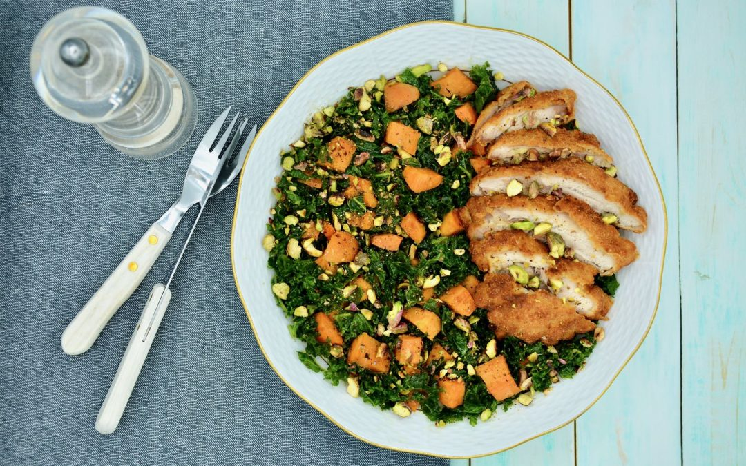 Kale Sweet Potato Salad with Crispy Fried Chicken Thigh