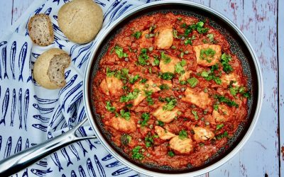 Salted Cod (Bacalhau) in Tomato Sauce with Capers