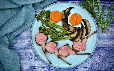 Lamb Chops with Portobello, Broccolini and Sweet Potato