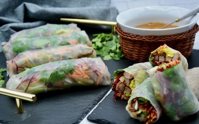Fresh Spring Rolls with Duck and Cashew Sauce