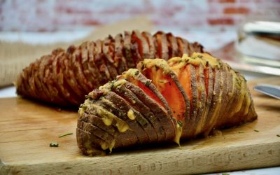 Hasselback Sweet Potatoes with Bacon and Cheese