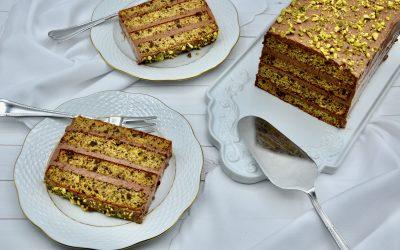 Pistachio and Rich Chocolate Cream Cake